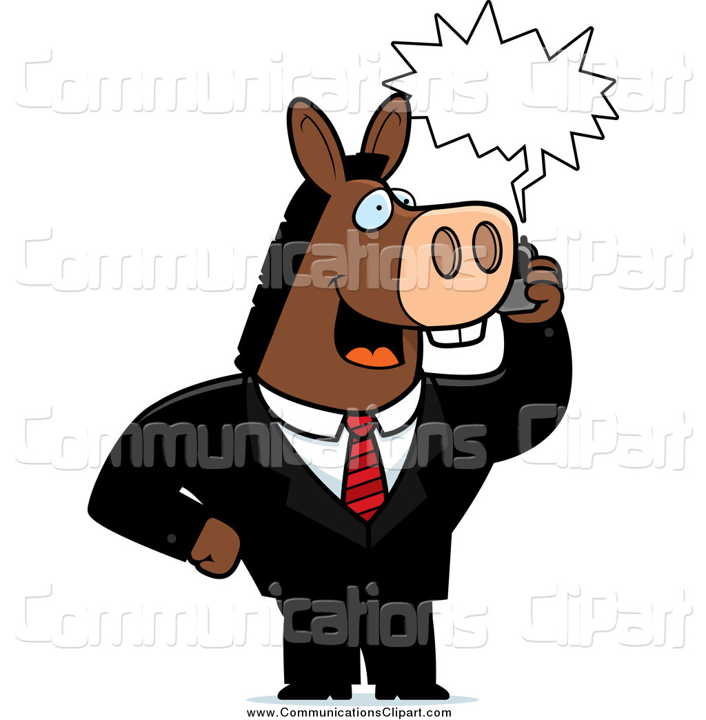 Communication Clipart Of A Donkey Businessman Talking On A Cell Phone