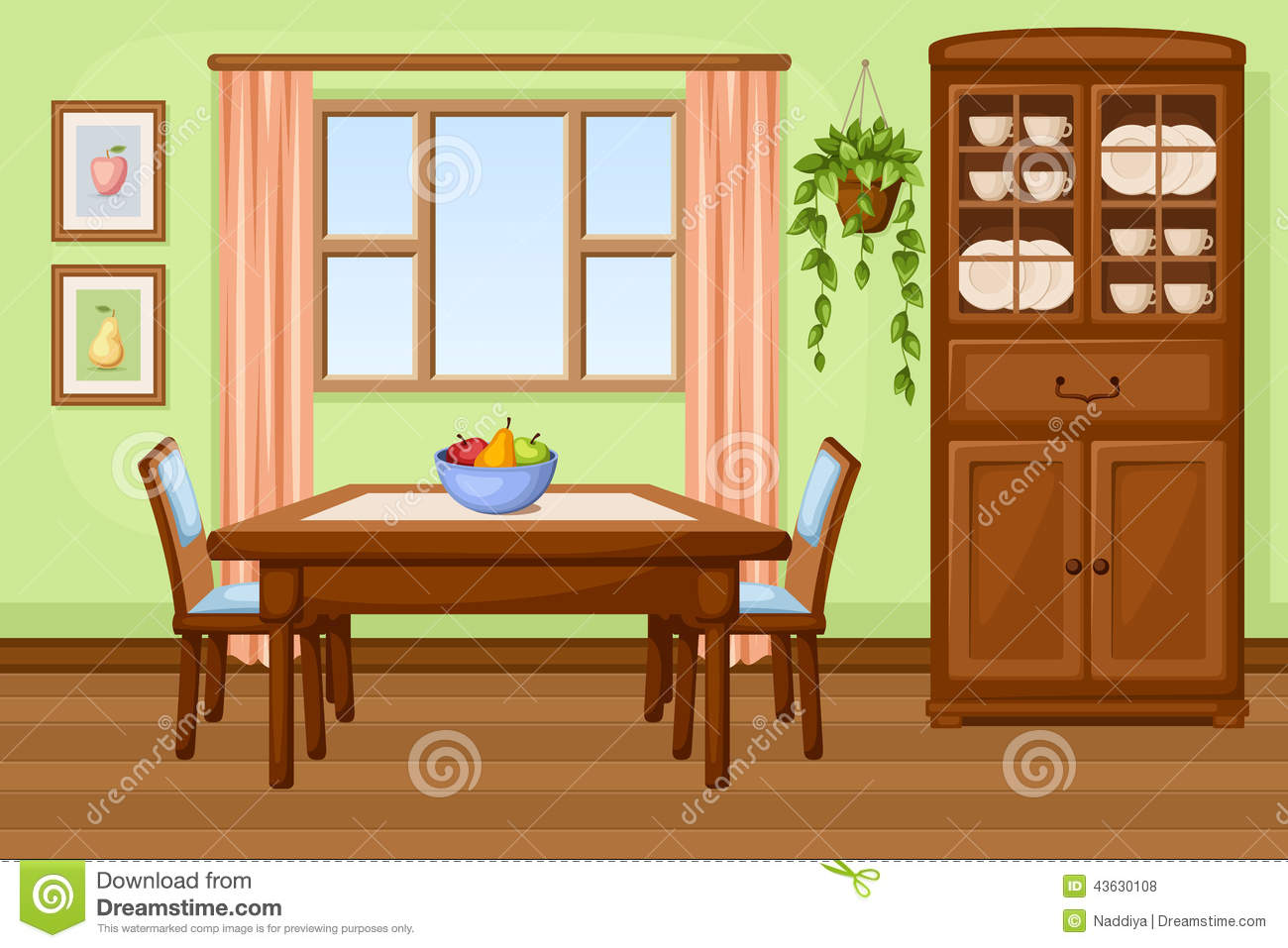 Dining Room Interior With Table And Cupboard  Vector Illustration