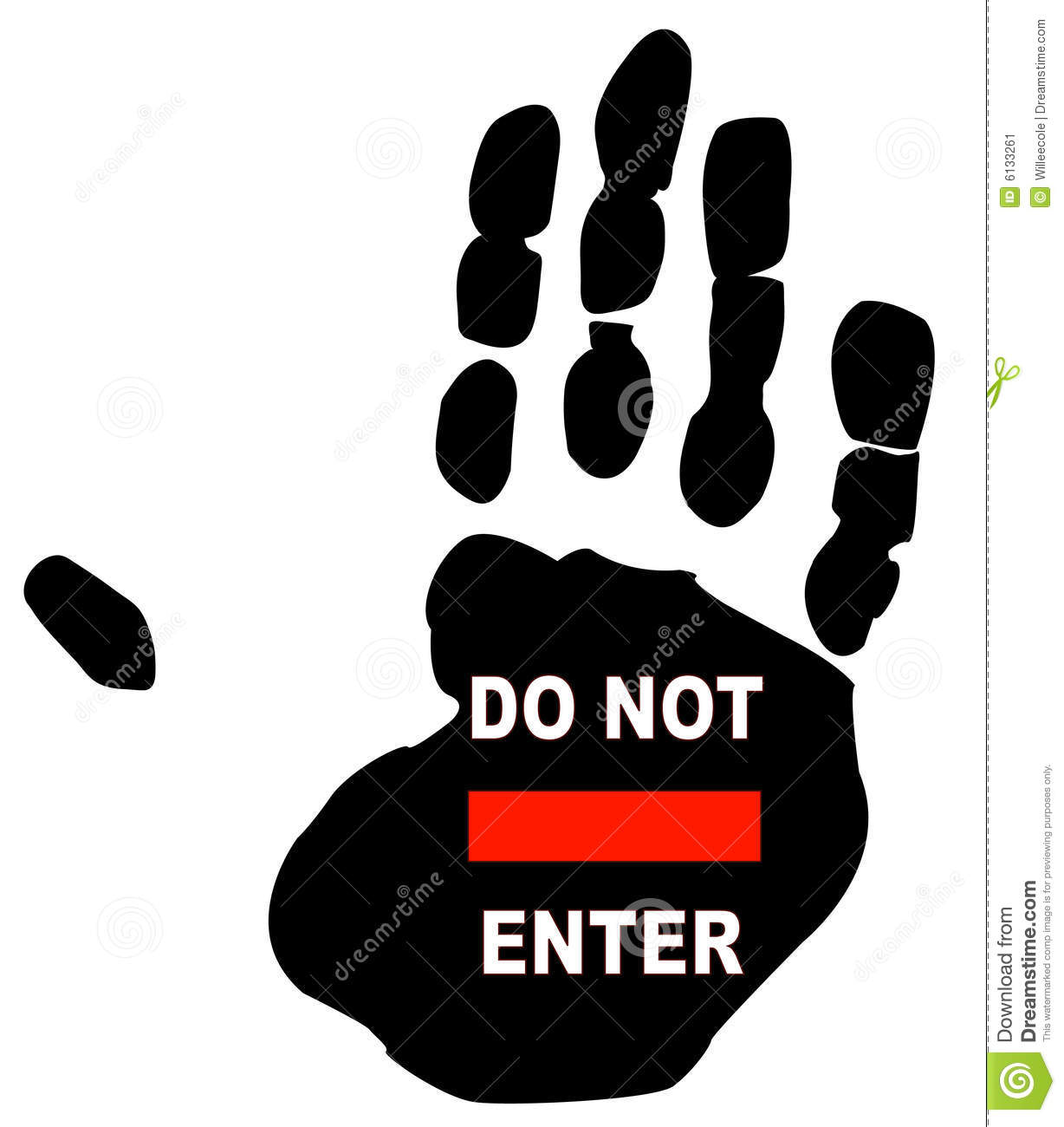 Do Not Enter Sign On The Print Of A Persons Hand