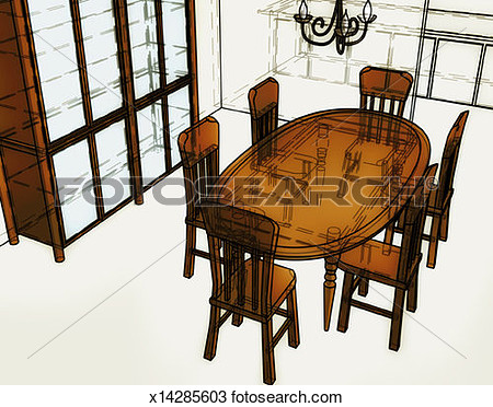 Drawing   Dining Room Table  Fotosearch   Search Clipart Illustration