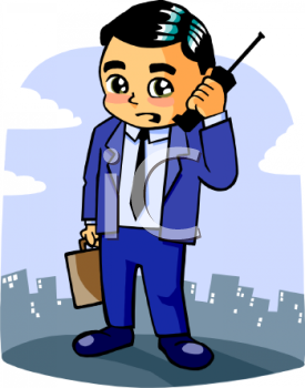 Free Clipart Image  Cartoon Of A Businessman Using His Cell Phone