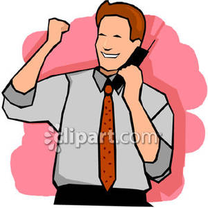 Happy Businessman On The Phone   Royalty Free Clipart Picture