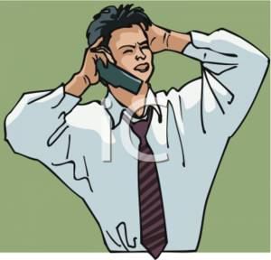 Occupation Clipart Picture Of A Frustrated Businessman On The Phone