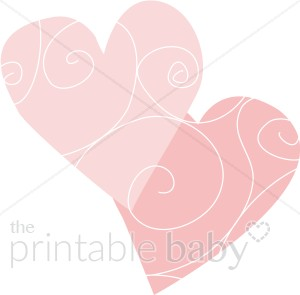 Pink Hearts With Whimsical Spirals   Heart Baby Clipart