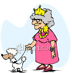 Rich Old Woman Walking Her Poodle   Royalty Free Clipart Picture