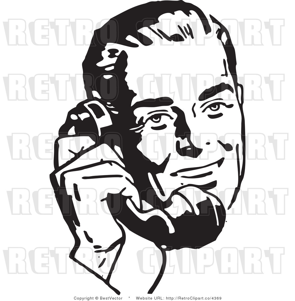 Royalty Free Retro Businessman Using A Phone By Bestvector    4369