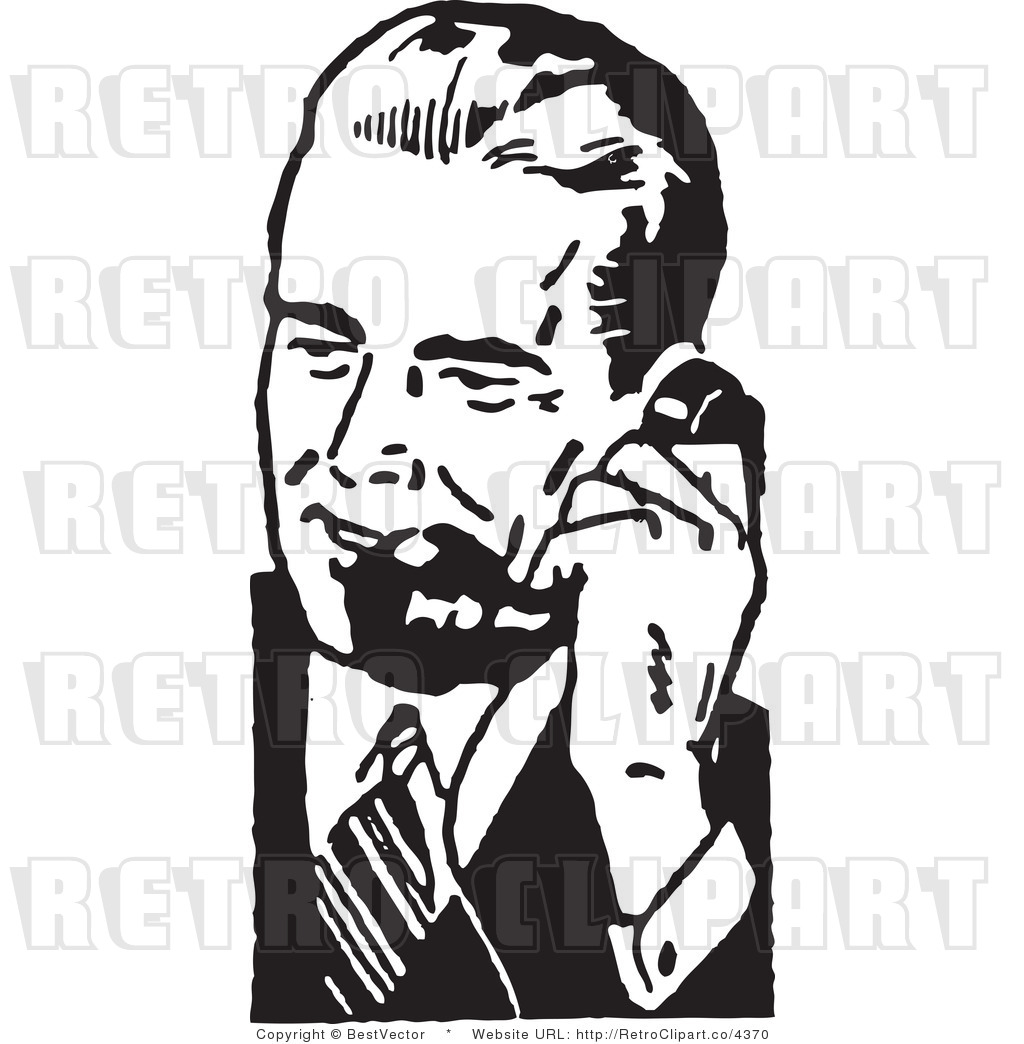 Royalty Free Retro Businessman Using A Phone By Bestvector    4370