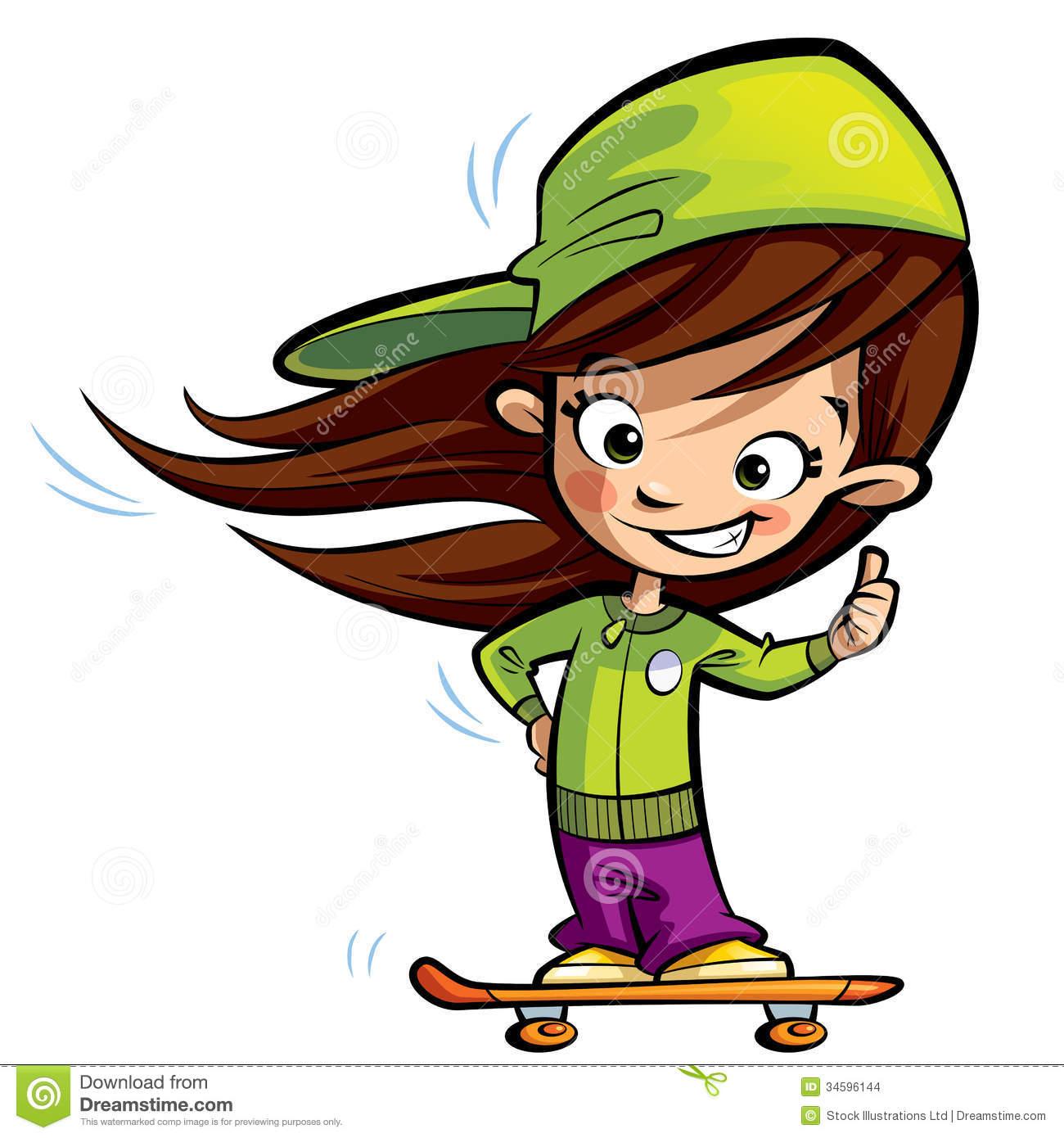 Girl Skateboard Clipart - Clipart Kid