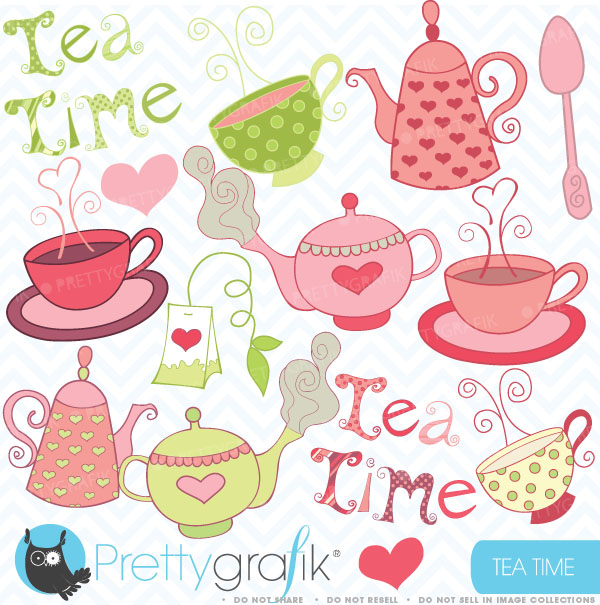 Tea Party Clipart Teapot Clipart Commercial Use 0 99