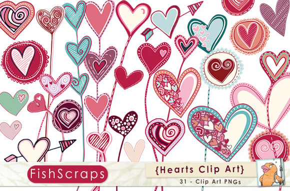 Valentine Love Hearts   Clip Art Graphics Have Been Hand Drawn By Me