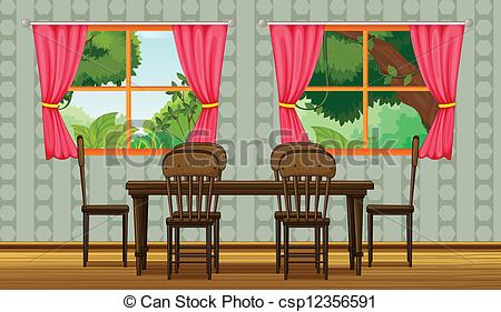 Vectors Of Colorful Dining Room   Illustration Of A Colorful Dining