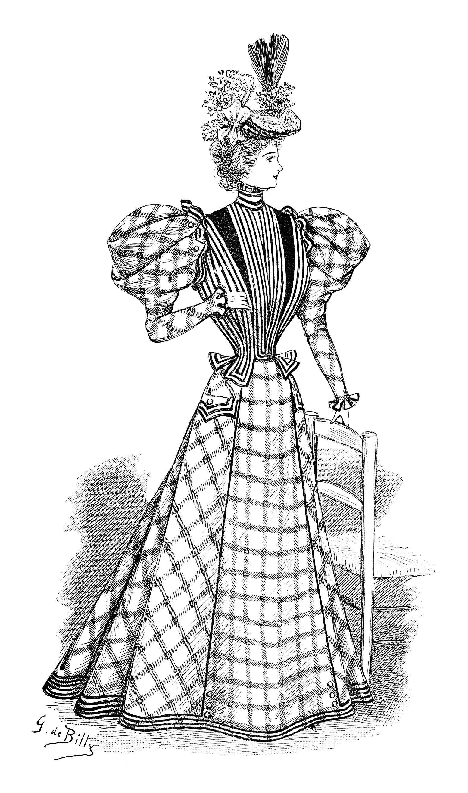 Victorian Lady Clip Art Black And White Fashion Clipart Vintage