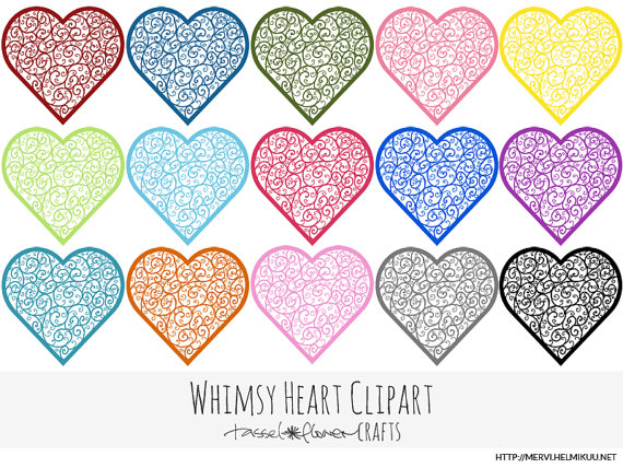 Whimsical Heart Clipart   Personal And Commercial Use  Digital Item