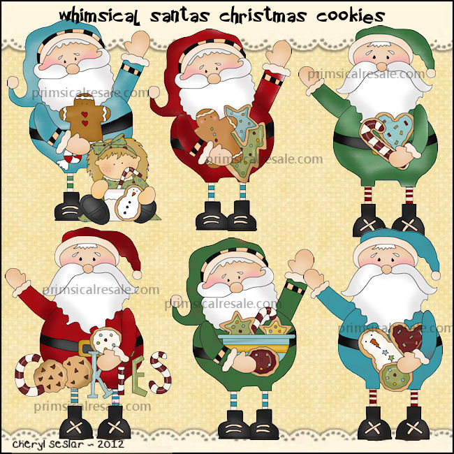Whimsical Santas Christmas Cookies     1 00   Clipart From The Heart