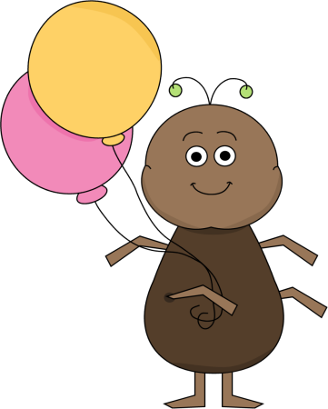 Ant With Balloons Clip Art Image   Cute Ant Holding Two Balloons