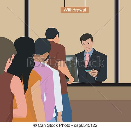 Art Of People Withdrawing Money At Bank Csp6545122   Search Clipart