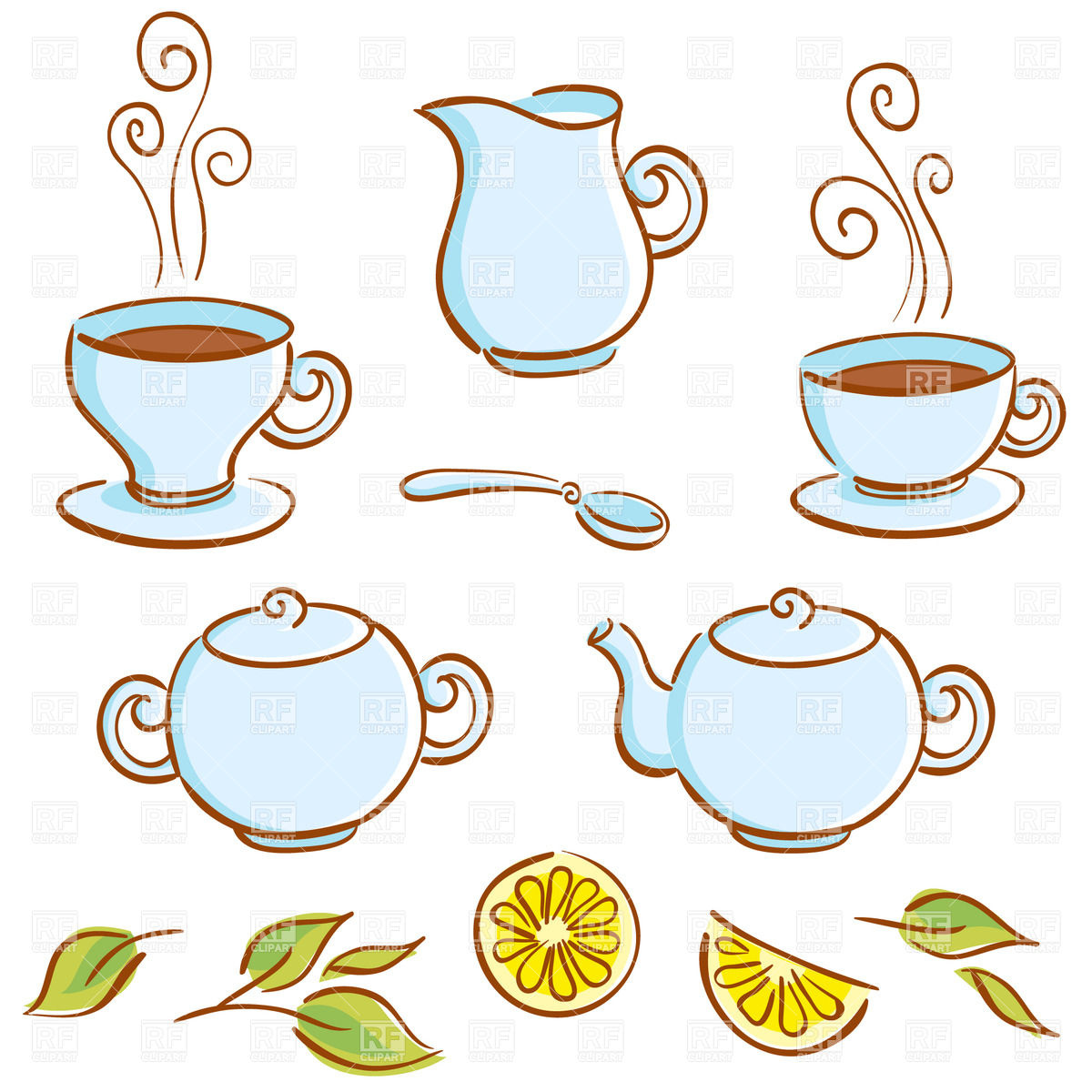 Background With Cartoon Tea Set Lemon And Cup Of Coffee   Sugar Bowl