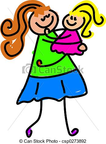 Clip Art Of My Mum   Little Girl Being Picked Up By Mother   Toddler