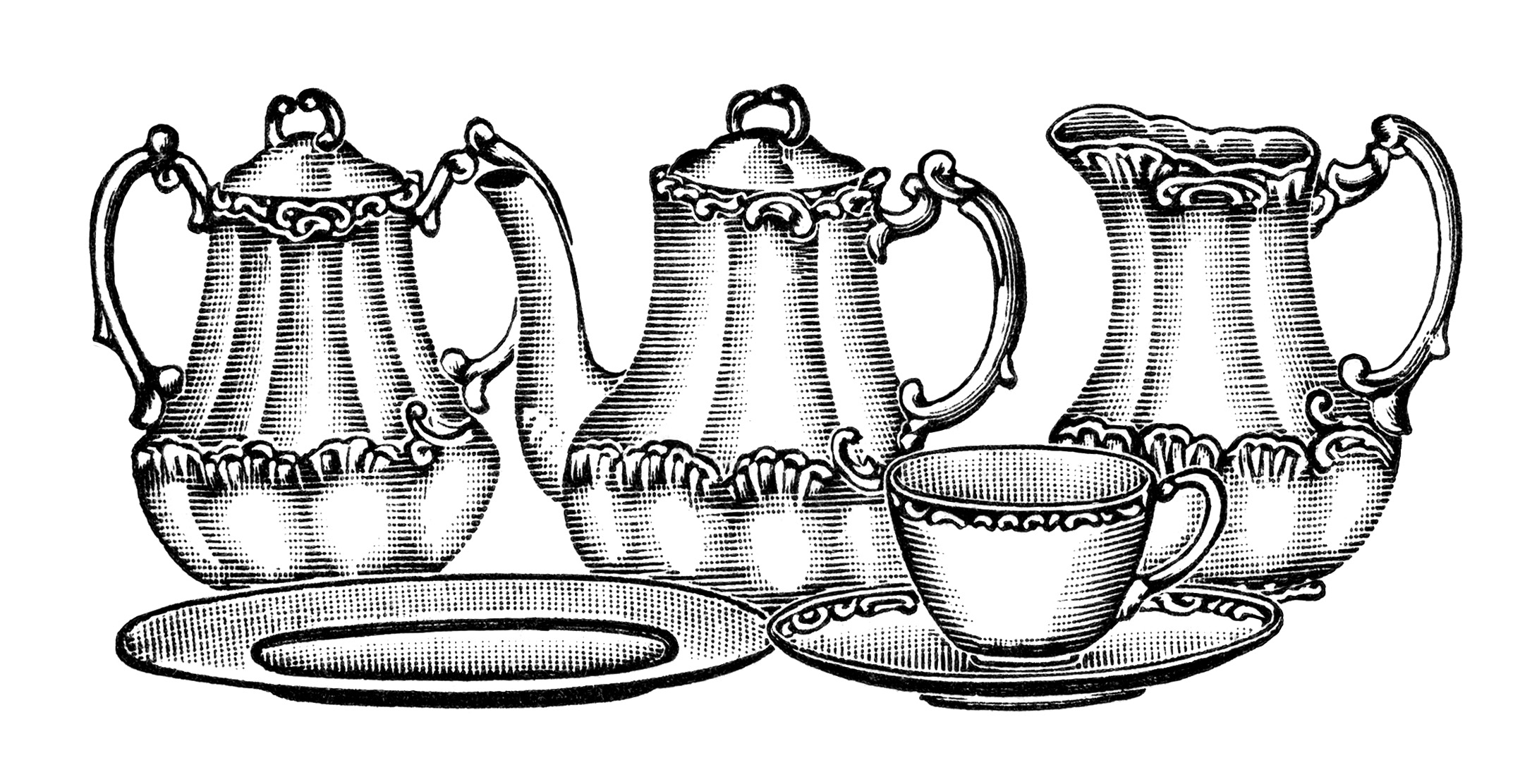 Clip Art Old Fashioned Tea Set Illustration Vintage Kitchen Clipart