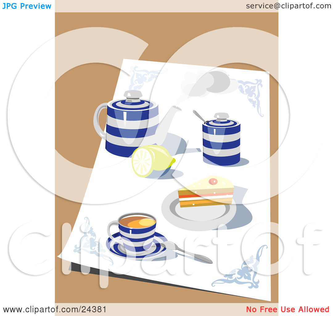 Clipart Illustration Of A Blue And White Tea Set With A Pot Lemon