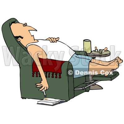 Clipart Illustration Of A Lazy White Man In A Tank Top And Boxers