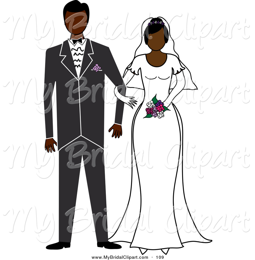 Clipart Of A Black Bride And Groom Standing Arm In Arm By Pams Clipart