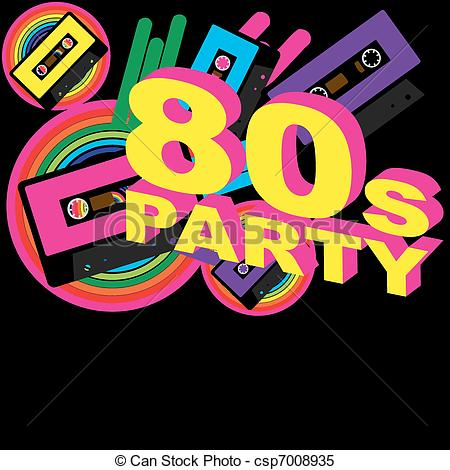 Clipart Vector Of Retro Party Background   Audio Casette Tape And