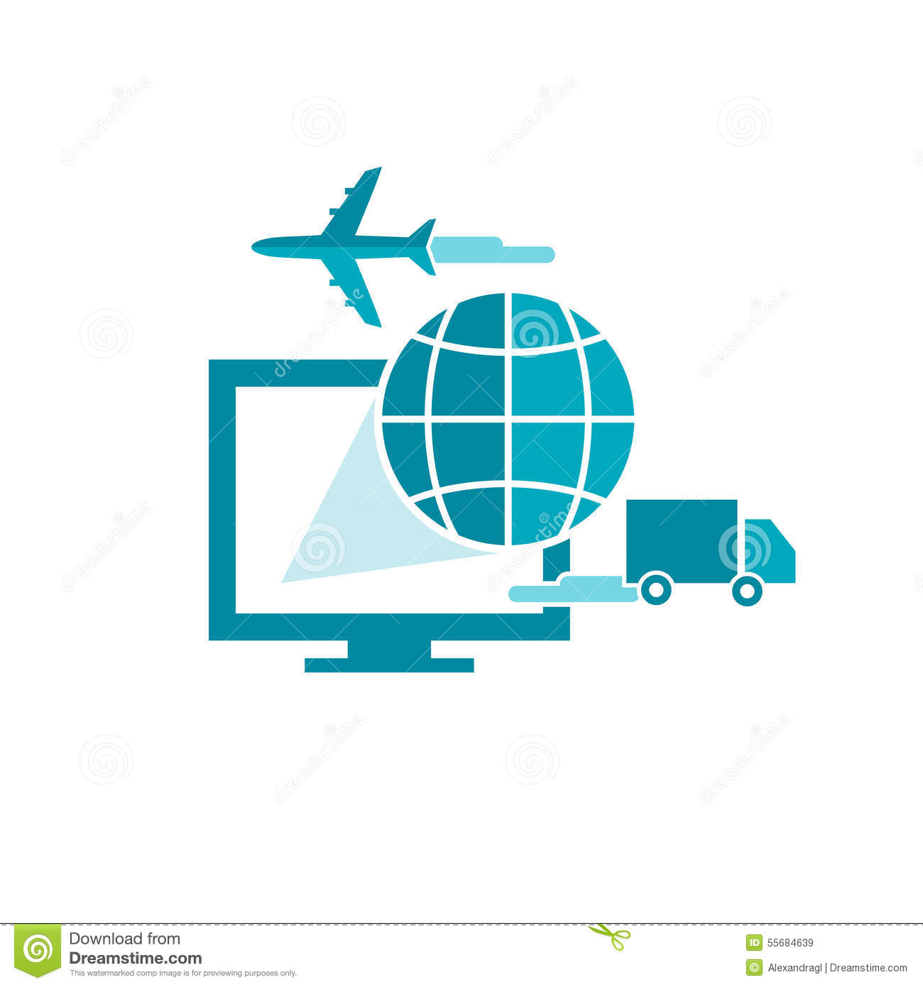 Commerce And Online Shipping Service With Computer Truck And Plane