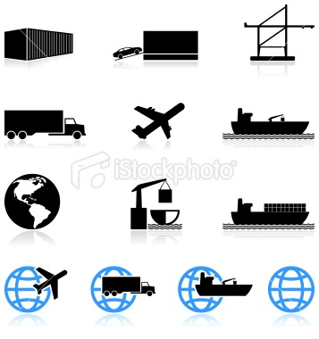 Commercial Freight Shipping Black And White Icon Set Jpg  357 380