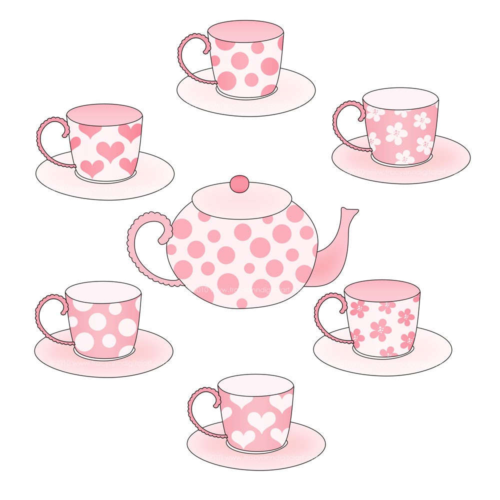 Pink Tea Party Tea Set Clip Art By Tracyanndigitalart On Etsy