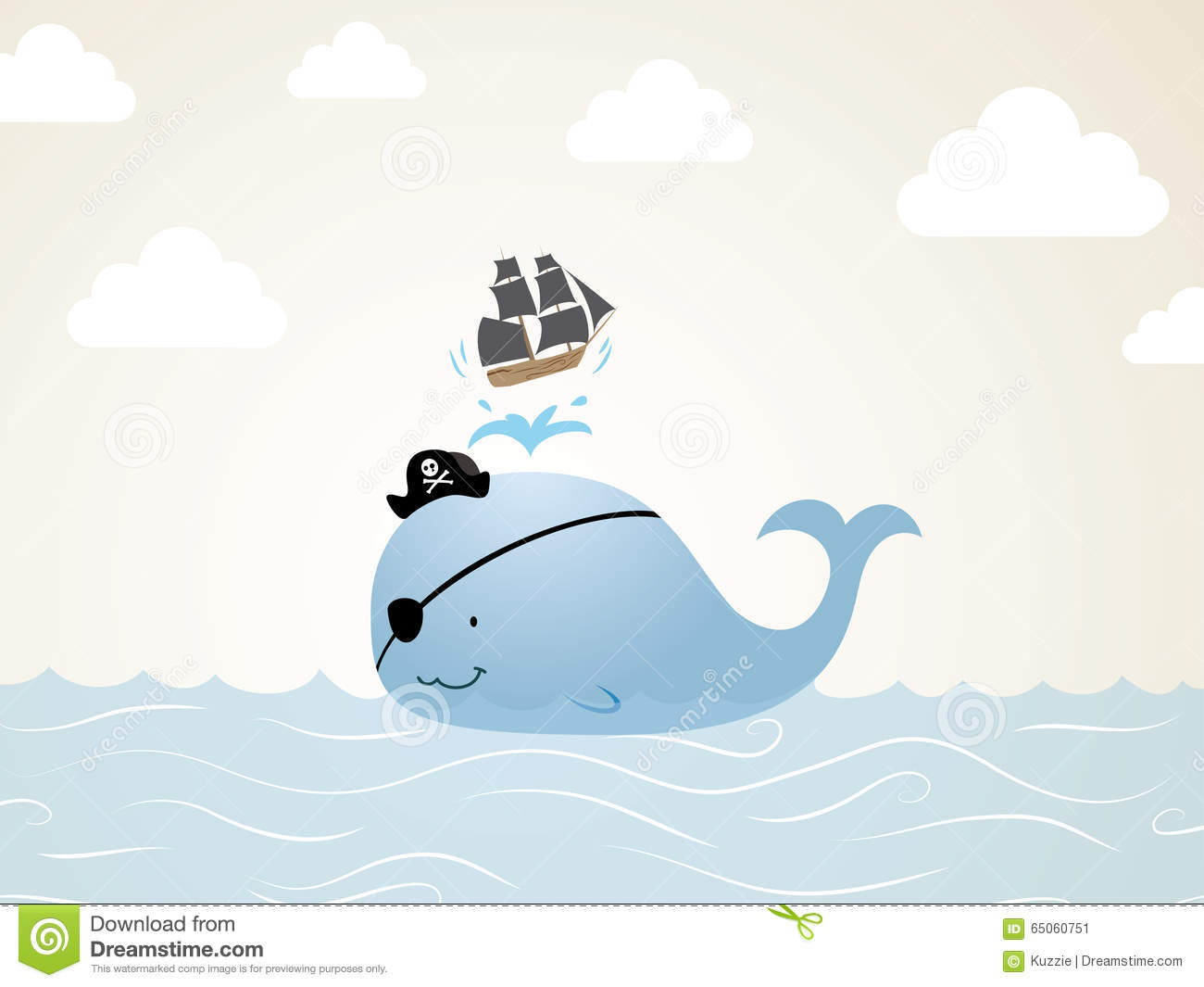 Pirate Whale Stock Vector   Image  65060751