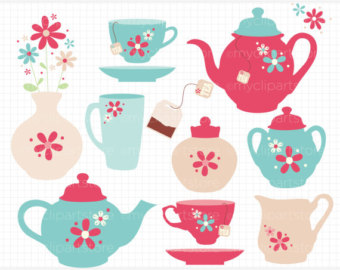 Popular Items For Tea Set Clipart On Etsy
