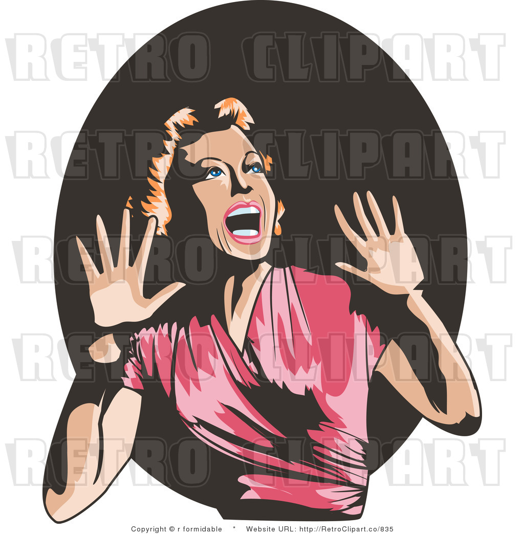 Royalty Free Retro Terrified Lady Screaming And Holding Her Hands Up