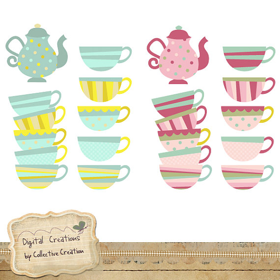 Tea Party Digital Clipart Set   Teacups And Teapots   Personal And