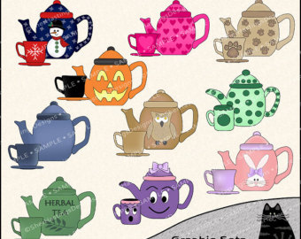 Tea Time Clipart And Graphic Set T Eapot Clipart Tea Clipart