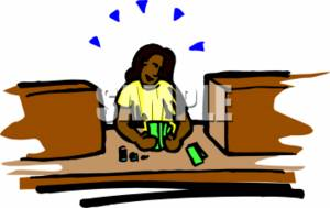 This Clipart Picture Shows An African American Bank Teller  The