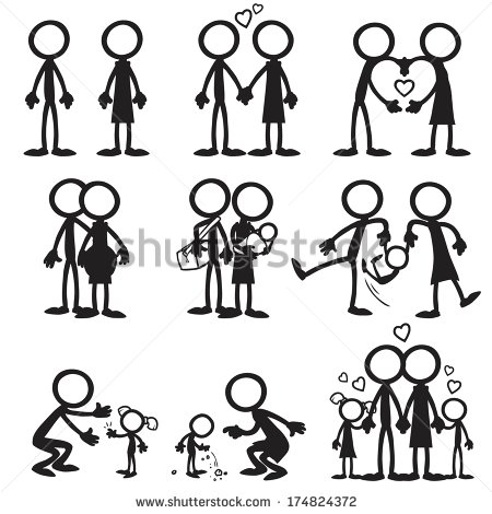 Vector Images Illustrations And Cliparts  Stick Figure Family Love