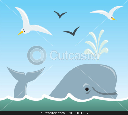 Whale And Seagulls Stock Vector Clipart A Cartoon Scene Of A Sufacing