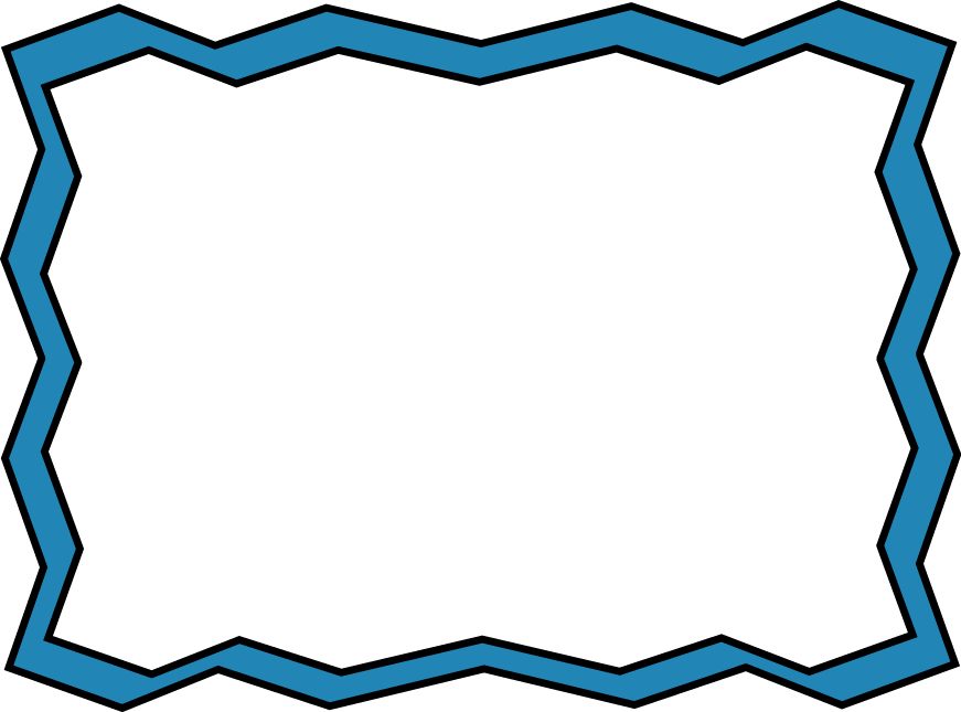 Zig Zag Frame   Fun Clip Art Frame With Blue Zig Zag Edges And A White