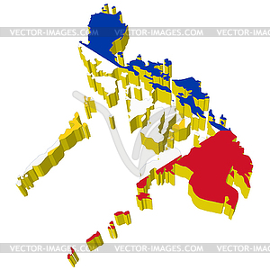 3d Map Of Philippines   Vector Clipart