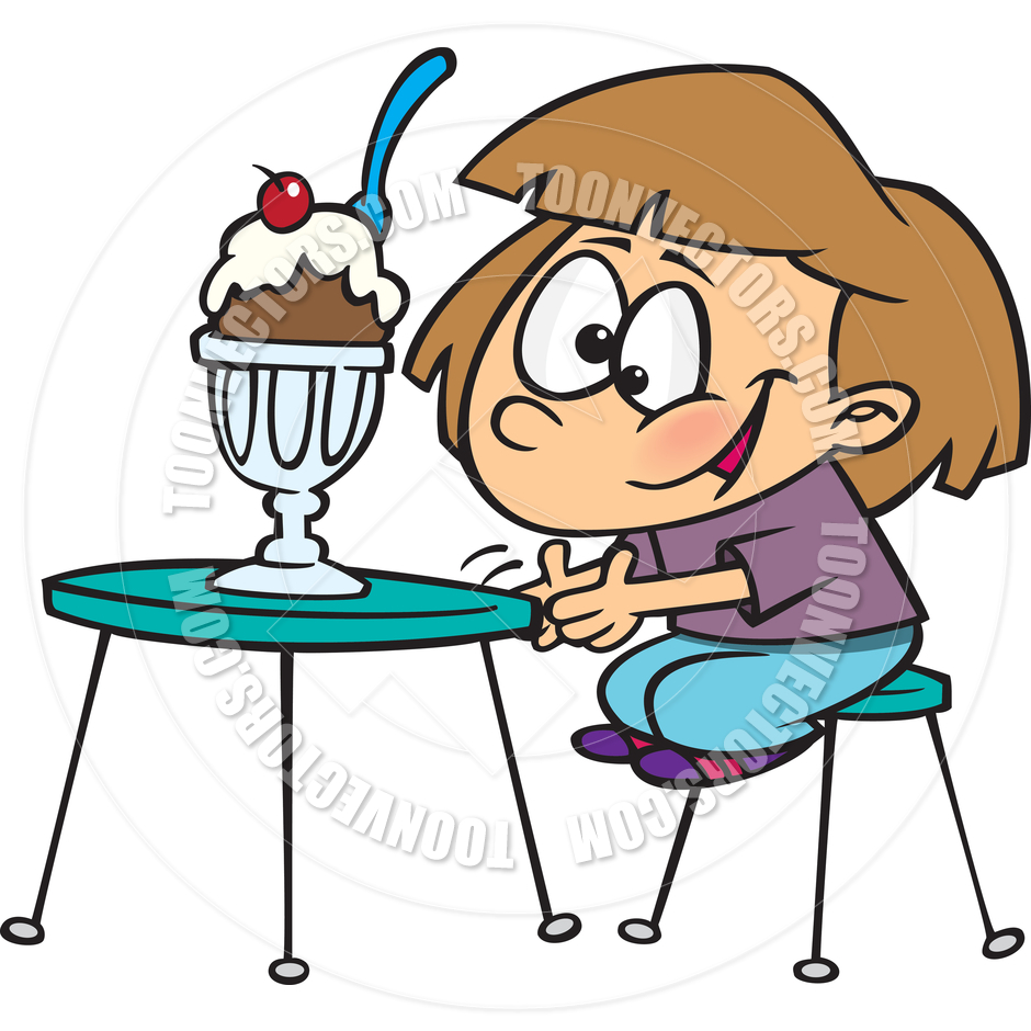 Clip Art Girl Eating Ice Cream Clipart - Clipart Kid