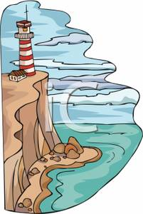 Lighthouse On A Cliff Clipart Image