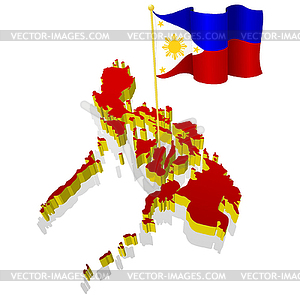 Map Of Philippines With National Flag   Vector Clipart