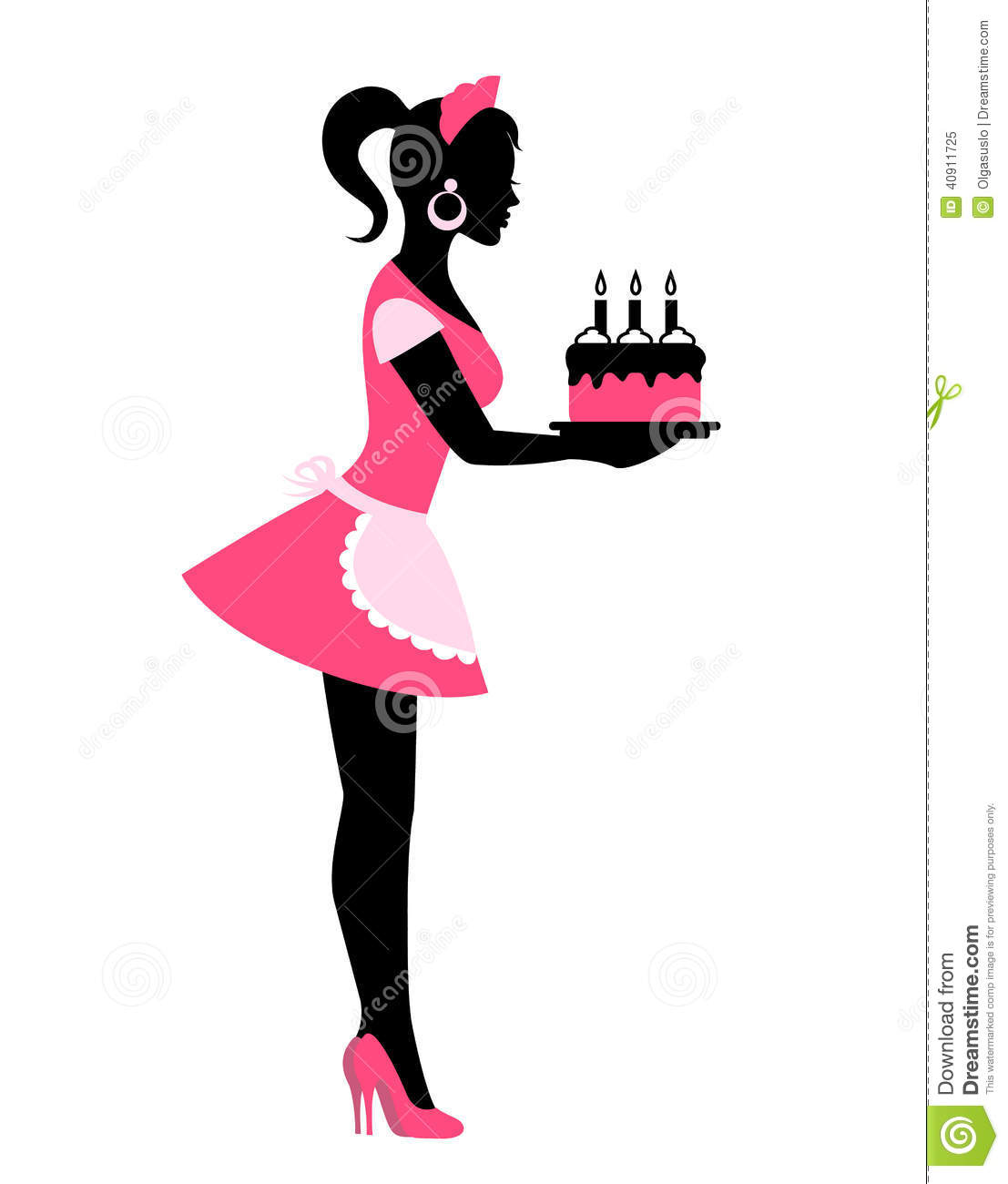 Silhouette Of A Woman Holding A Cake With Candles Stock Vector   Image