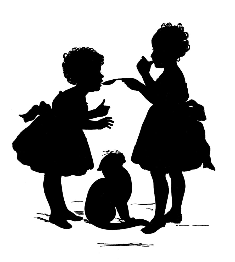 Vintage Graphic Silhouette   Children With Cat   The Graphics Fairy