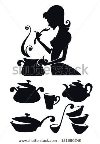Woman Cooking Silhouette Vector Collection Of Cooking