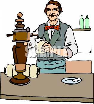 Clip Art Of A Man Pouring A Beer In A Pub   Foodclipart Com