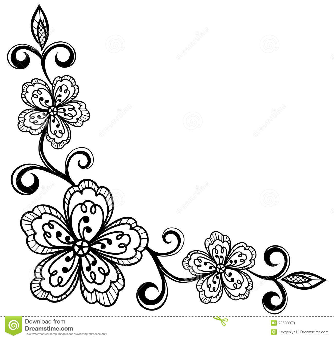 Black Flower Rose From Lace On White Background: Lace Flower Clipart