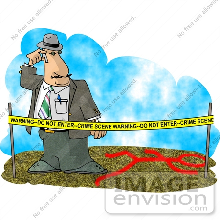 Csi  Man Behind Warning Tape Looking At A Chalk Body Outline Clipart