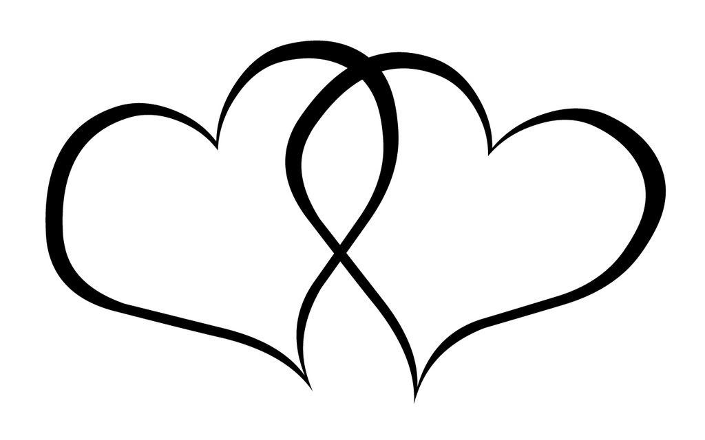 Double Heart Clipart Black And White